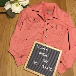 LAL Faded Wash Coral Cotton Jean Jacket M